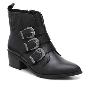 Steve Madden Bark Western Ankle Booties Black 8.5